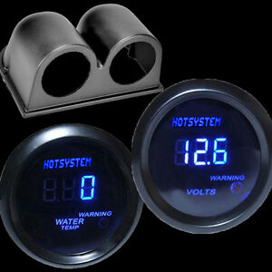 Hotsystem Digital Led Ceisius Water Temp Gauge Black voltage Gauge With Holder