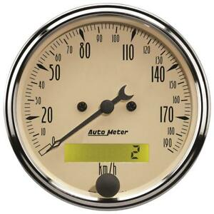 Auto Meter Speedometer Gauge 1887 M Antique Beige 0 190 Kph 3 1 8 Electrical