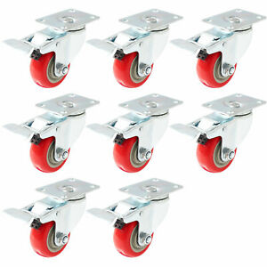 8 Pack 3 Caster Wheels Swivel Plate Total Lock Brake Red Polyurethane Pu