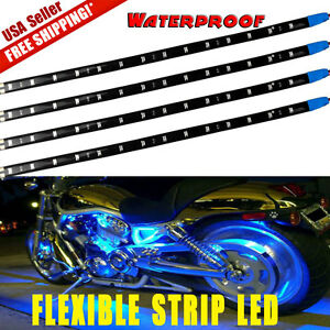 4x Ultra Blue 1ft 30cm 15smd Waterproof Led Light Strip For Car Utv Trucks 12v