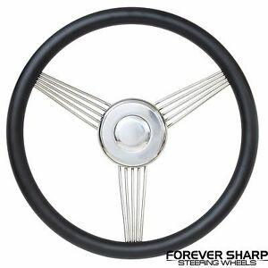 14 Hot Rod Custom Rat Street Rod Black Steel Banjo Steering Wheel W Adapter