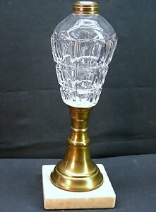 Vintage Six Sided Pressed Glass Whale Kerosene Oil Lamp With Marble Base