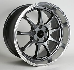 4 Enkei Tenjin Wheels 17x9 5x100 45 Gunmetal Machined Rims