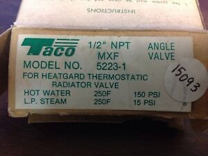 Taco Angle Valve For Heatgard Thermostatic Radiator Valve 5223 1