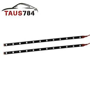 2pcs Red 1ft 30cm 5050 Smd Led Strip Light For Car Motor Atv Interior Exterior
