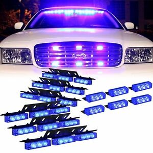 Vehicle Truck Led Strobe Lights Grill Dash Deck All Blue Warning Car Light Set