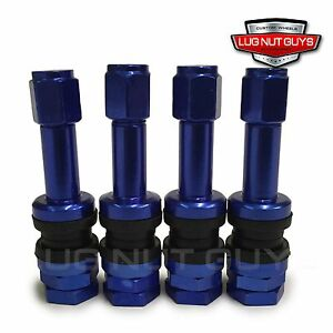 Set Of 4 Blue Aluminum Tire Valve Stems And Caps Bolt In Style Lightweight