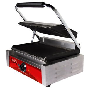 Grooved Top Bottom Commercial Cast Iron Electric Panini Sandwich Grill Press