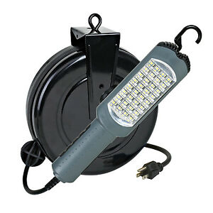 Auto Repair Work Light Led 30 Foot Retractable Cord Reel Alert Stamping 5030as