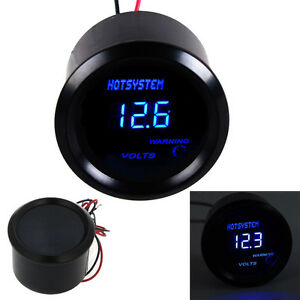 Car Hotsystem Black 2 52mm Blue Digital Led Electronic Voltage Volt Meter Gauge