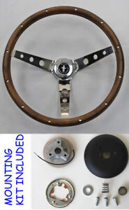 New 1965 1969 Mustang Real Wood Grip Steering Wheel Grant 15 Chrome Spokes