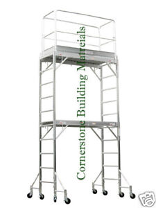 Aluminum Scaffold Rolling Tower 12 H Guard Rail U Lock With Plywood Deck