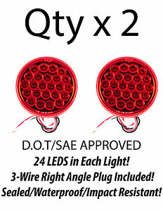 4 Inch Red 24 Led Round Stop Turn Tail Truck Trailer Light 3 Wire Plug Qty 2