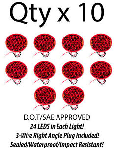 4 Inch Red 24 Led Round Stop turn tail Truck Trailer Light 3 Wire Plug qty 10