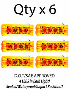 Amber 4 Inch 4 Led Rectangle Truck Trailer Side Marker Clearance Light Qty 6