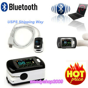 Us Seller Bluetooth Fingertip Pulse Oximeter spo2 Monitor pc Software alarm Fda