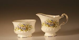 Rosina Queen S China Wild Flowers Cream And Open Sugar Set Made In England