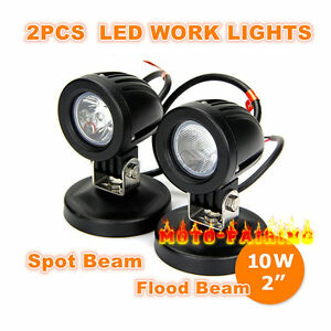 10w Cree Led Work Lights 2 Flood Spot Offroad Driving Fog Lights Motorcycle 4wd