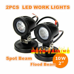 10w Cree Led Work Lights Flood Spot Offroad Driving Fog Lamps Motorcycle 4wd Atv