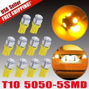 10x Amber Yellow T10 168 Wedge Led Bulb Map Dome License Plate Interior Light