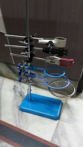 Laboratory Lab Stand 8 X 5 Retort Rings 3 Clamps 3 Boss Heads 3