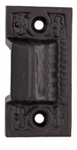 Eastlake Antique Reproduction Decorative Keeper For Chain Head Bolt Satin Black