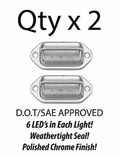 6 Led License Plate Tag Light Chrome Boat Trailer Rv Truck Ear Mount Qty 2