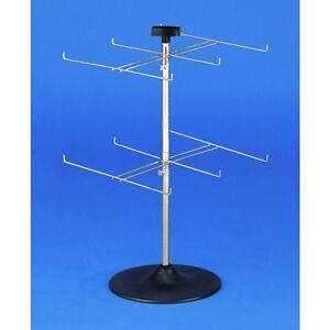 New Retails 12 hook Counter Rack With Two Rotating Tiers 26 h X 20 1 2 d