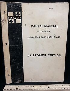To 1977 Hyster S60b S70b S80b S90b S100b Fork Lift Truck Parts Manual Book orig