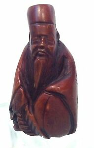 Antique Japanese Carved Signed Sage With Leaf Fan Netsuke