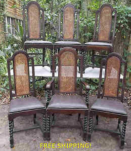Antique Set Of 6 Fumed Oak Carved Dining Chairs