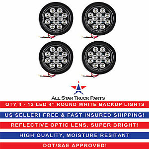 4 White 12 Led Round Backup Reverse Truck Light With Grommet Pigtail Qty 4