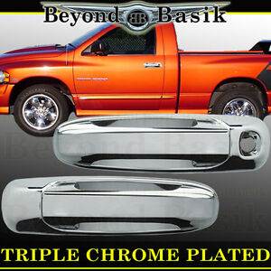 For Dodge Ram 2500 3500 2003 2009 2dr Chrome Door Handle Covers No Pass Keyhole