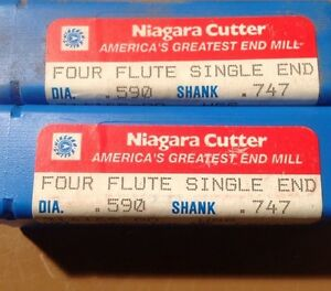 Niagara Cutter Fb01ab 590 X 747 X 1 3 8 X 2 5 16 Hss 4fl End Mill Lot Of 2