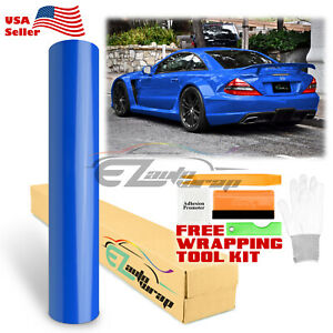 Gloss Glossy Intense Blue Vinyl Car Wrap Sticker Decal Bubble Free Sheet Film