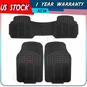 3pcs New Car Floor Mats For All Weather Rubber Set Front Rear Heavy Duty Black