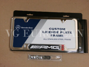 Mercedes benz Genuine Stainless Steel Amg Carbon Fiber License Plate Frame New