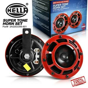 New Genuine Hella Red Super Tone Dual Car Horn 12v 118db Loud Bmw Benz Wrx Evo