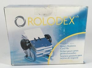 Rolodex Metal Rotary Business Card File Blue 63299