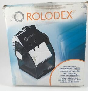 New Rolodex Two tone Mesh Rotary Business Card File Tabs 200 Card 1734234