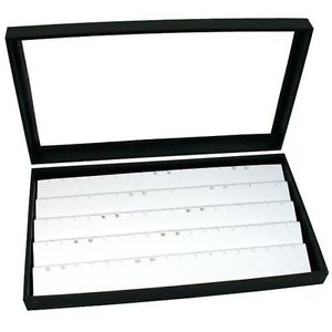 Jewelry Box Display Case Holds 45 Pairs Of Earrings White New New Free Shippin