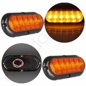 2x Trailer Truck Amber Led Surface Mount 6 Oval Stop Turn Tail Light Sealed 12v