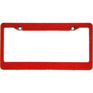 Red Crystal Rhinestones License Plate Frame 7 Rows Special Bling Offer