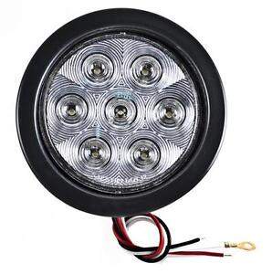 4 Inch White 7 Led Round Backup reverse Truck Light W Grommet Pigtail qty 2