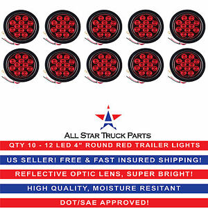 4 Red 12 Led Round Stop Turn Tail Truck Light With Grommet Pigtail Qty 10