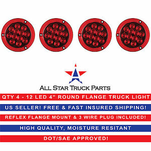 4 Red 12 Led Round Stop turn tail Truck Light Reflex Flange Mount Qty 4
