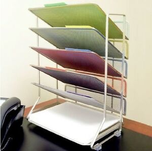 Letter Organizer Desk Document Tray Office File Holder Paper Storage Mail 6 Tray