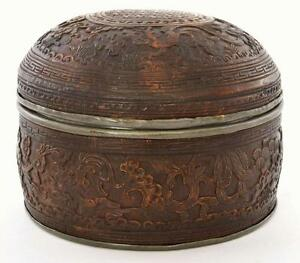Late 19th Century Chinese Coconut Shell With Pewter Lining Box Marked