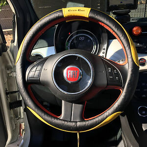 New Black Circle Cool Yellow Pvc Leather 51005 Steering Wheel Cover 14 5 15