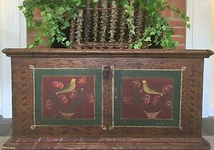 Antique German Dutch Painted Folk Art Wedding Trunk Primitive Chest 1800s Pa